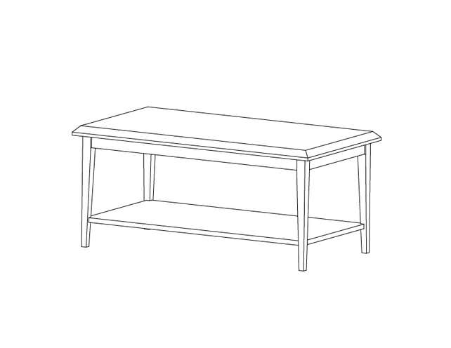 Dimensional line drawing for the Odessa Coffee Table with Laminate Top