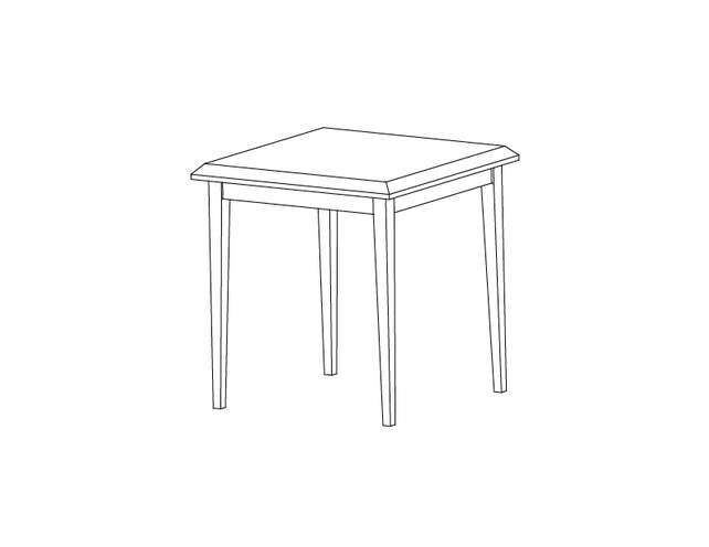 Dimensional line drawing for the Quick-Ship Odessa Square End Table