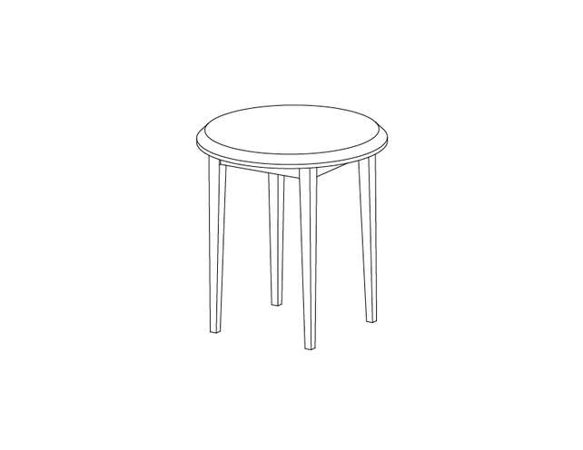 Dimensional line drawing for the Odessa Round End Table with Laminate Top