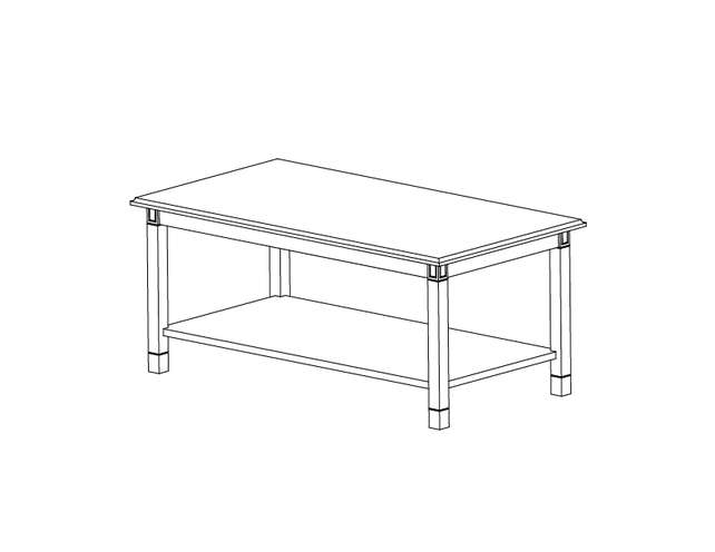 Dimensional line drawing for the Baxley Coffee Table with Laminate Top