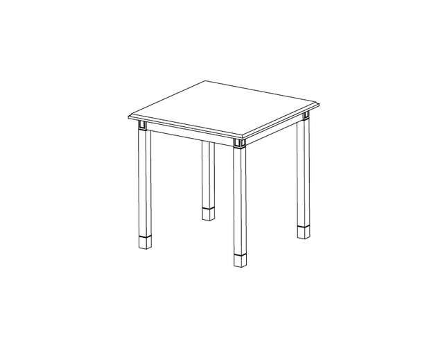 Dimensional line drawing for the Baxley Square End Table with Laminate Top