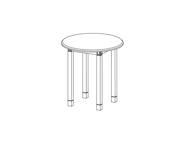 Dimensional line drawing for the Baxley Round End Table with Laminate Top