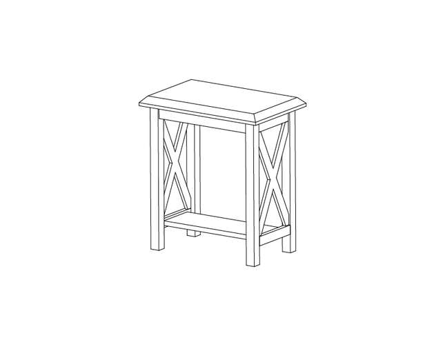 Dimensional line drawing for the Saragosa Chairside Table with Laminate Top