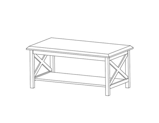 Dimensional line drawing for the Saragosa Coffee Table with Laminate Top