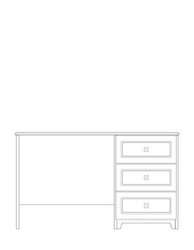 Dimensional line drawing for the Scottsdale Desk