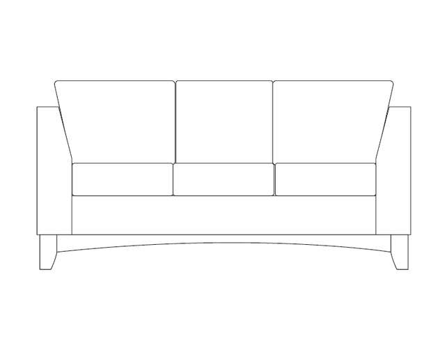 Dimensional line drawing for the Napoli Sofa