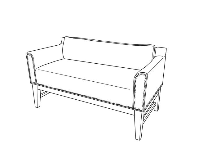 Dimensional line drawing for the Elida Bench