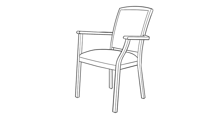 dimensional line drawing for the elkhart dining chair