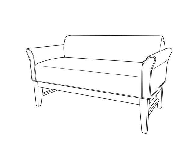 Dimensional line drawing for the Emeryville Bench