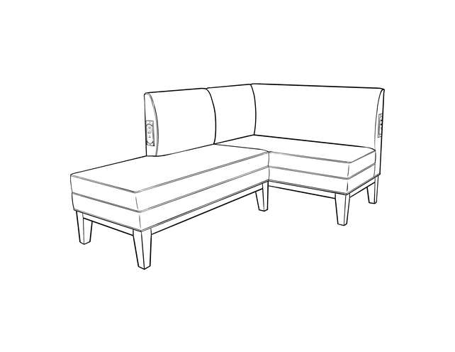 Dimensional line drawing for the Enfield Banquette