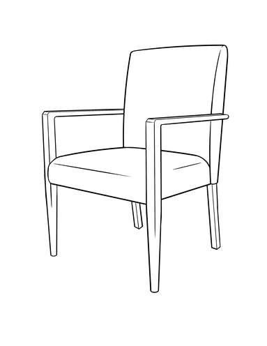 Dimensional line drawing for the Evanston Occasional Chair
