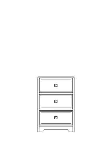Dimensional line drawing for the Elkhart 3-Drawer Bedside Cabinet