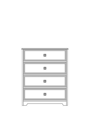 Dimensional line drawing for the Elkhart 4-Drawer Chest