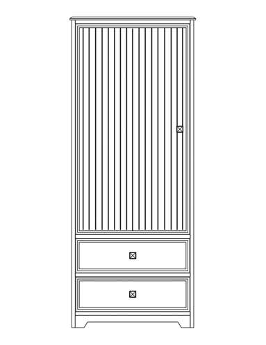 Dimensional line drawing for the Elkhart 1-Door, 2-Drawer Wardrobe