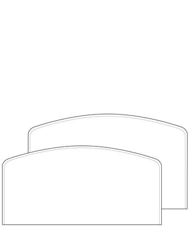 Dimensional line drawing for the Elkhart Headboard & Footboard, Non-Drilled