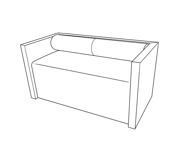 Dimensional line drawing for the Fernley Bench