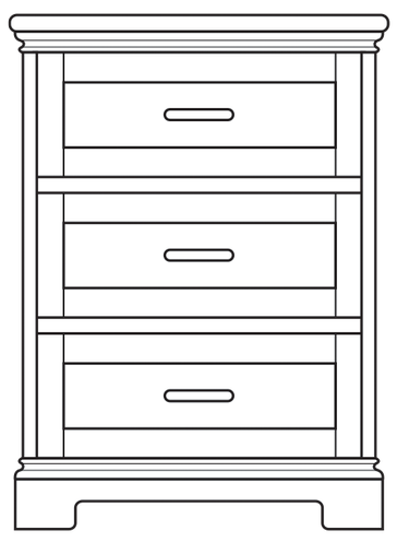 Dimensional line drawing for the Ridgeland 3-Drawer Bedside Cabinet