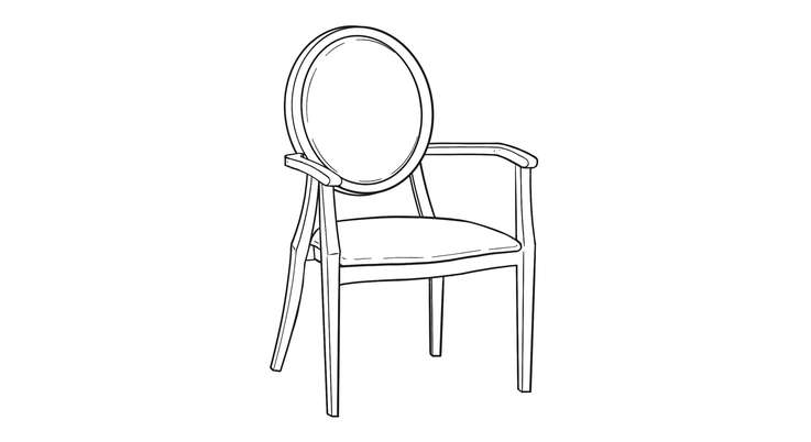 Dimensional line drawing for the Quick-Ship Gainesville Dining Chair