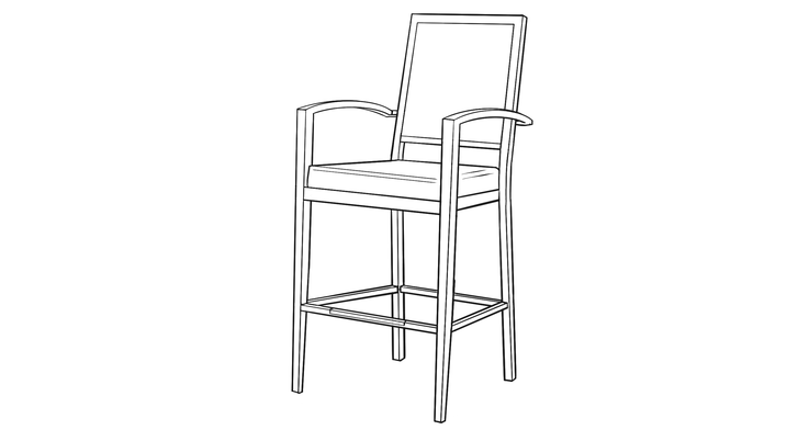 Dimensional line drawing for the Galveston Barstool