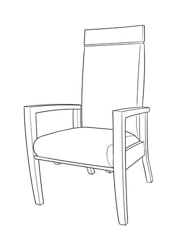 Dimensional line drawing for the Galveston Stationary Rocker