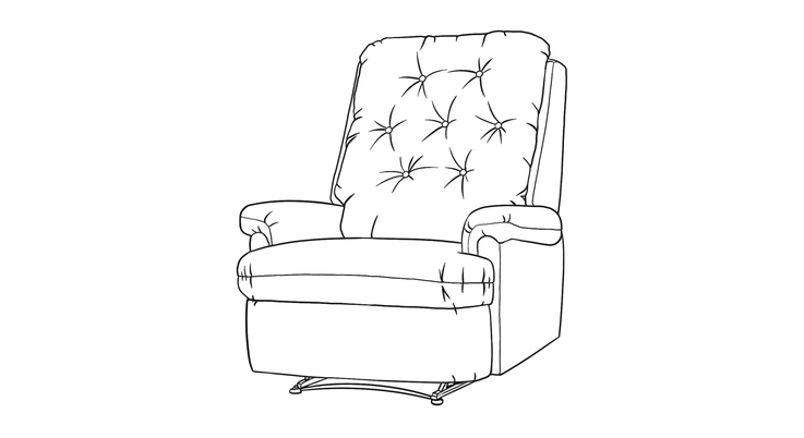 Dimensional line drawing for the Hattiesburg Recliner