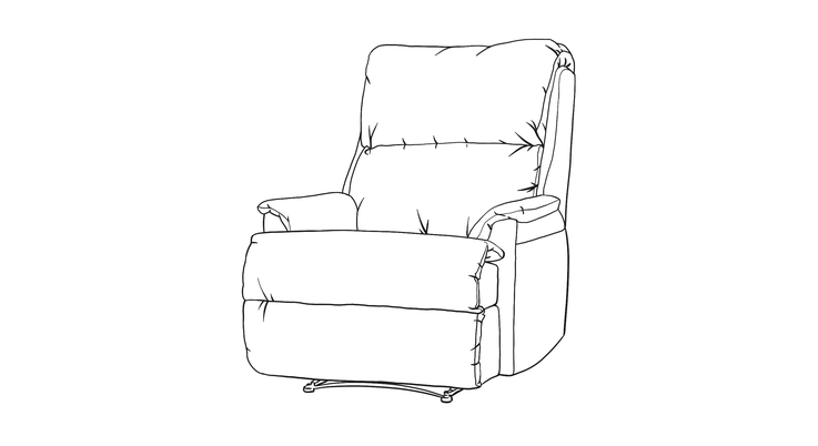 Dimensional line drawing for the Quick-Ship Hazleburst Recliner in Crypton Fabric
