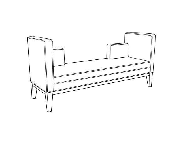 Dimensional line drawing for the Horicon Bench
