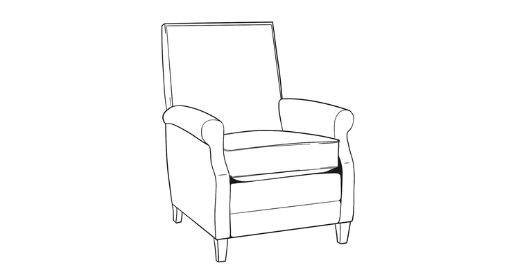 Dimensional line drawing for the Irvine Recliner