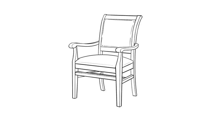 Dimensional line drawing for the Kensington Bariatric Dining Chair
