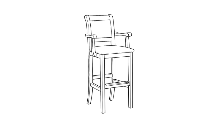 Dimensional line drawing for the Kensington Barstool