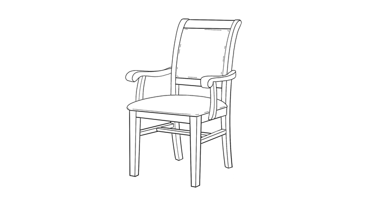 dimensional line drawing for the kensington dining chair
