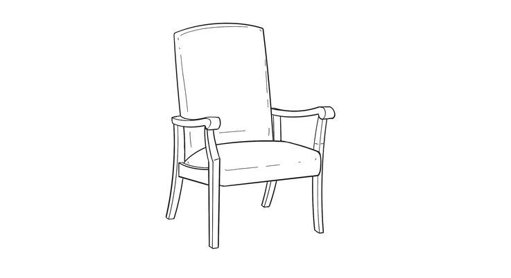 Dimensional line drawing for the Quick-Ship Kensington Occasional Chair
