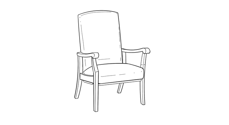 Dimensional line drawing for the Quick-Ship Kensington Stationary Rocker