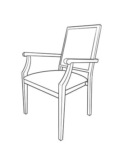 Dimensional line drawing for the Kirkwood Dining Chair