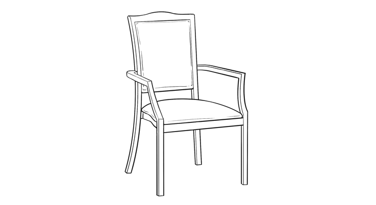 Dimensional line drawing for the Quick-Ship Macon Dining Chair