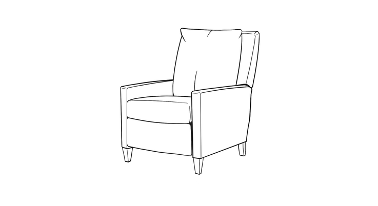 Dimensional line drawing for the Oak Park Recliner