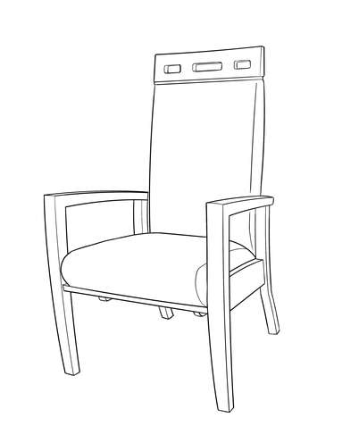 Dimensional line drawing for the Scottsdale Stationary Rocker