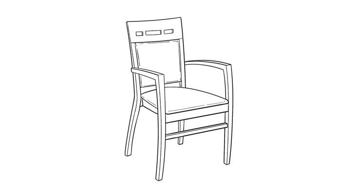 Dimensional line drawing for the Scottsdale Activity Chair