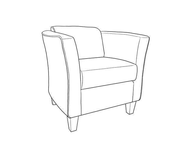 Dimensional line drawing for the Quick-Ship Sedona Accent Chair in Crypton Fabric