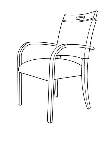Dimensional line drawing for the Sedona Activity Chair