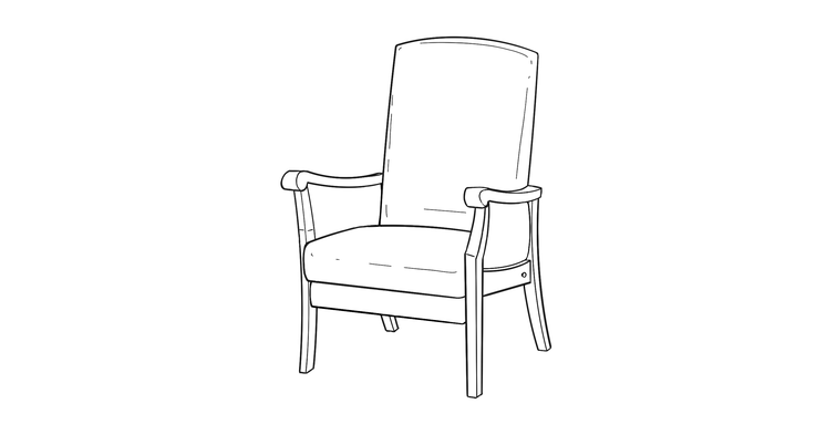 Dimensional line drawing for the Kensington Non-Powered Lift Chair