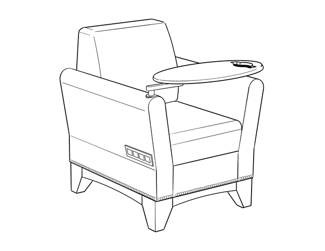 Dimensional line drawing for the Ashville Lounge Chair