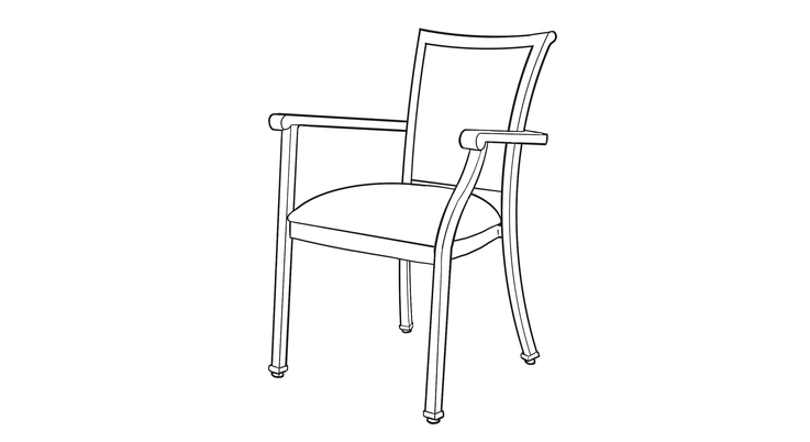 Dimensional line drawing for the Quick-Ship Vincenza Dining Chair