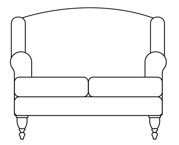 Dimensional line drawing for the Williamsburg Loveseat