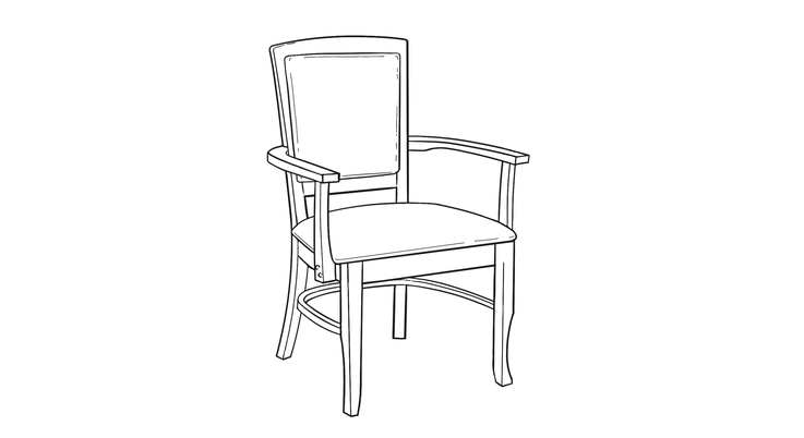 Dimensional line drawing for the Williamsburg II Dining Chair
