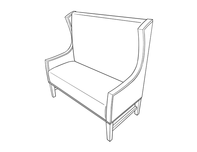 Dimensional line drawing for the Winter Haven Bench